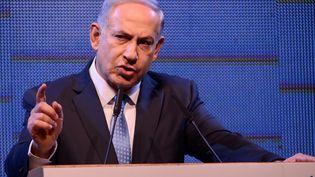 Le Premier ministre israélien, Benjamin Nétanyahou, tient un discours à Tel Aviv (Israël), le 5 janvier 2015. (GILI YAARI / NURPHOTO / AFP)