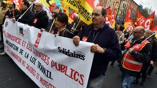 Lors d'une manifestation à Toulouse pour la défense du service public et de l'industrie et contre la loi Travail, le 21 mars 2017. (MAXPPP)