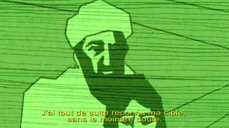 """Capture d'écran de la vidéo duCenter for Investigative Reporting (CIR) reprenant le témoignage du marine qui a tué Ben Laden, avec la traduction de """"Courrier International"""". (YOUTUBE / FRANCETV INFO)"""