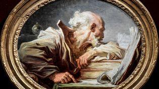 """""""Philosophe lisant"""" (circa 1768-1770), toile deJean-Honore Fragonard, a atteint la somme de7,68 millions d'euros à la maison """"Enchères Champagne"""" d'Epernay (Marne) le 26 juin 2021. (STEPHANE DE SAKUTIN / AFP)"""