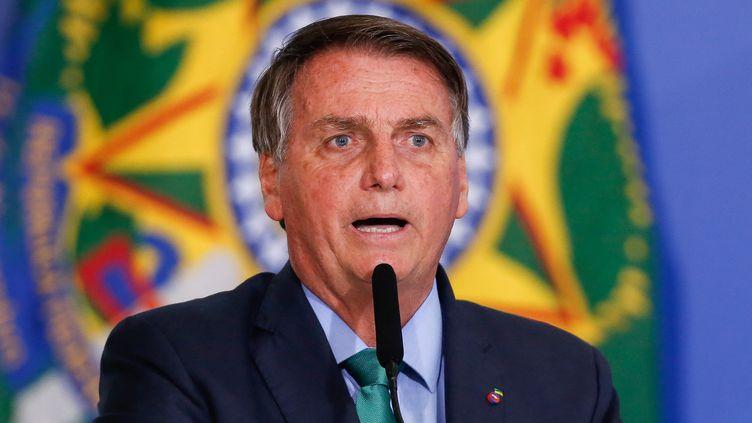 Le président brésilien Jair Bolsonaro à Brasilia (Brésil) le 5 août 2021. (SERGIO LIMA / AFP)