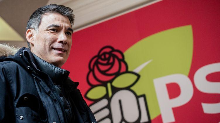 Olivier Faure, le premier secrétaire du PS, lors d'un point presse au siège du parti le 20 mars 2018. (MAXPPP)