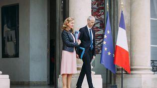 La ministre de la Justice, Nicole Belloubet, et le ministre de la Culture, Franck Riester, à la sortie du Conseil des ministres à l'Elysée, le 24 avril 2019. (DENIS MEYER / HANS LUCAS / AFP)
