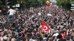 Une manifestation à Paris contre la loi Travail, le 28 juin 2016. (THOMAS SAMSON / AFP)