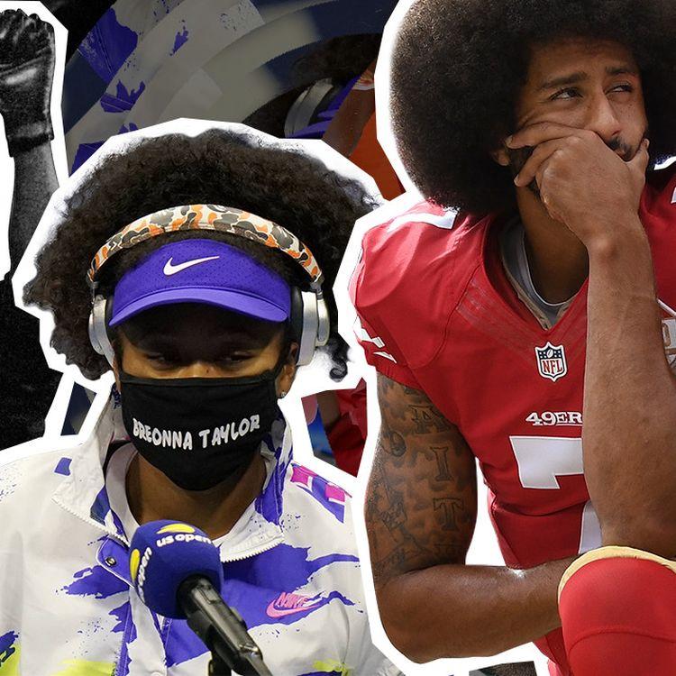 La footballeuse Megan Rapinoe, l'athlète John Carlos, la tenniswoman Naomi Osaka, le joueur de football américain Colin Kaepernick et le basketteur LeBron James ont tous dénoncé les inégalités raciales aux Etats-Unis. (JESSICA KOMGUEN / FRANCEINFO)
