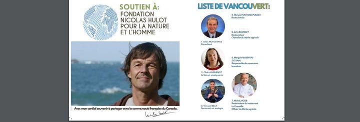 La photo de l'écologiste Nicolas Hulot utilisée frauduleusement par une liste à Vancouver (Canada), lors des élections consulaires les29 et 30 mai 2021. (DIPLOMATIE.GOUV)