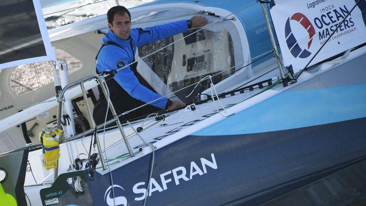 Le skipper de Safran, Morgan Lagravière (DAMIEN MEYER / AFP)