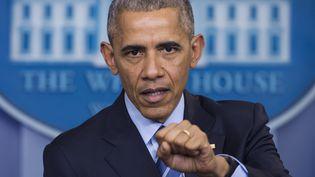 Barack Obama lors d'une conférence de presse à la Maison Blanche, à Washington, le 16 décembre 2016. (SAUL LOEB / AFP)