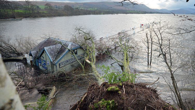 Des arbres sont tombés sur unerue submergée de Pooley Bridge (Angleterre) le 7 décembre 2015. La tempête Desmond a provoqué des inondations dans le nord de l'Angleterre. Certaines zones ont reçu en 24h l'équivalent d'un mois de précipitations. (PAUL ELLIS / AFP)