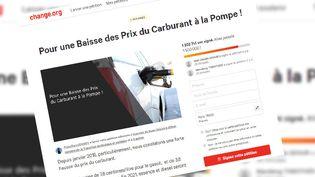 """La pétition qui a précédé le mouvement des """"gilets jaunes"""" a récolté plus de 1,2 million de signatures sur le site Change.org. (CAPTURE D'ÉCRAN / CHANGE.ORG)"""