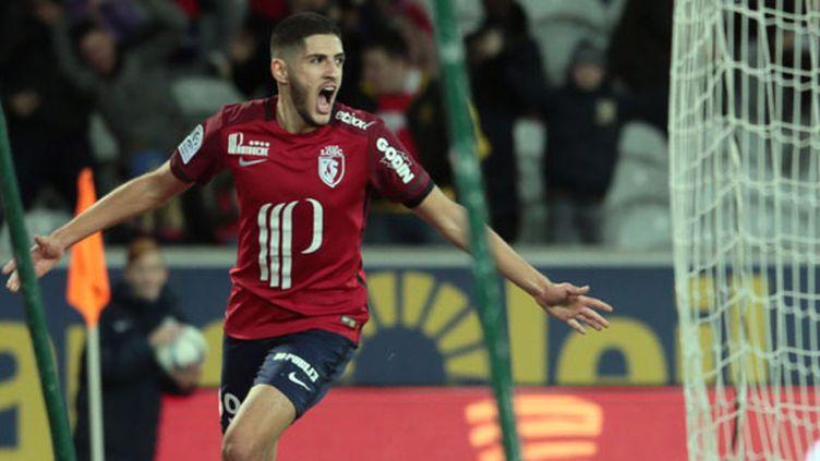 Yassine Benzia après son but face à Saint-Étienne