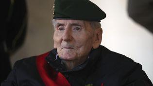 Hubert Germain, le dernier Compagnon de la Libération encore en vie,lors de la cérémonieen l'honneur de Daniel Cordier à l'Hôtel des Invalides, à Paris le 26 novembre 2020. (MICHEL EULER / POOL / AFP)