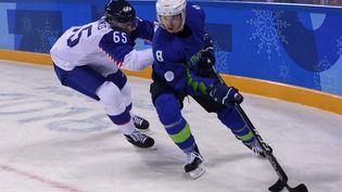 Le joueur de hockey sur glace de l'équipe de Slovénie Ziga Jeglic(à droite), lors des Jeux olympiques de Pyeongchang (Corée du Sud), le 17 février 2018. (JUNG YEON-JE / AFP)