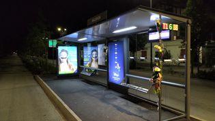 Des fleurs ont été déposées, le 7 juillet 2020, à l'arrêt où un conducteur de bus a été agressé à Bayonne(Pyrénées-Atlantiques). (ROMAIN DEZEQUE / FRANCE BLEU PAYS BASQUE)