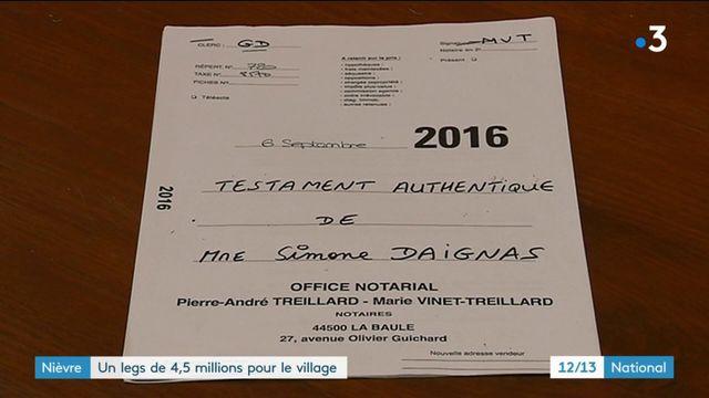 Nièvre : un legs de 4,5 millions d'euros pour un village