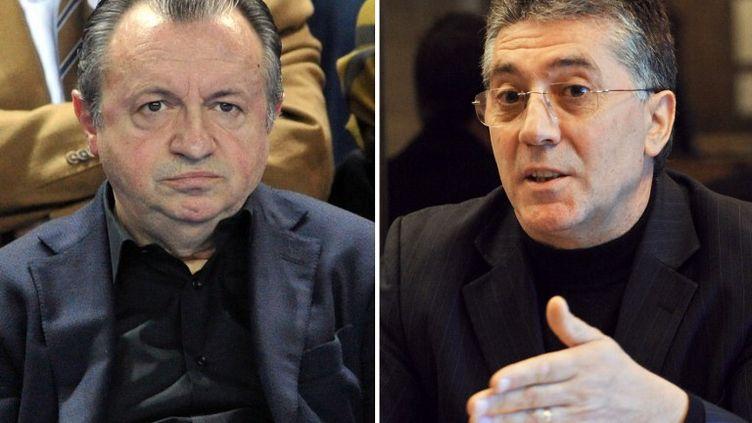 Leprésident PS du conseil général des Bouches-du-Rhône, Jean-Noël Guérini (à g.),et lesénateur apparenté PS de l'Hérault Robert Navarro (à dr.). (PASCAL GUYOT / AFP)