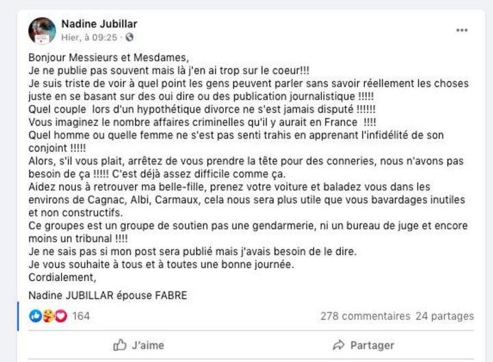 Capture d'écran Facebook d'un message posté par la belle-mère de Delphine Jubillar. (FACEBOOK)