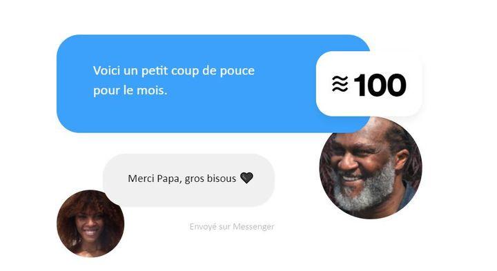 Illustration d'un transfert de Libra sur la messagerie Messenger, publiée sur le site de la filiale de Facebook Calibra. (CALIBRA / FACEBOOK)
