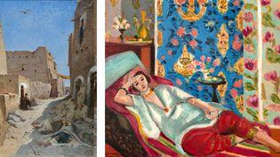 """A gauche, Eugène Fromentin, """"La Rue Bab-el-Gharbi à Laghouat"""", vers 1859, Douai, musée de la Chartreuse - A droite, Henri Matisse, """"Odalisque à la culotte rouge, """" vers 1924-1925, Paris, musée de l'Orangerie  (A gauche © Douai, Musée de la Chartreuse – Photographe : Image & Son - A droite Photo © RMN-Grand Palais (musée de l'Orangerie) /  Michel Urtado / Benoit Touchard © Succession H. Matisse )"""