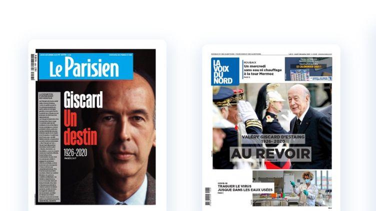 """Capture d'écran des unes du """"Parisien"""" et de """"La Voix du Nord"""", après la mort de Valéry Giscard d'Estaing, le 3décembre 2020. (LE PARISIEN / LA VOIX DU NORD)"""