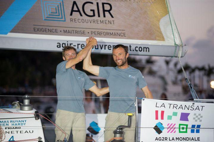 Thomas Ruyant (à gauche) et Adrien Hardy ont remporté l'édition 2018, record de l'épreuve à la clé. (ALEXIS COURCOUX)