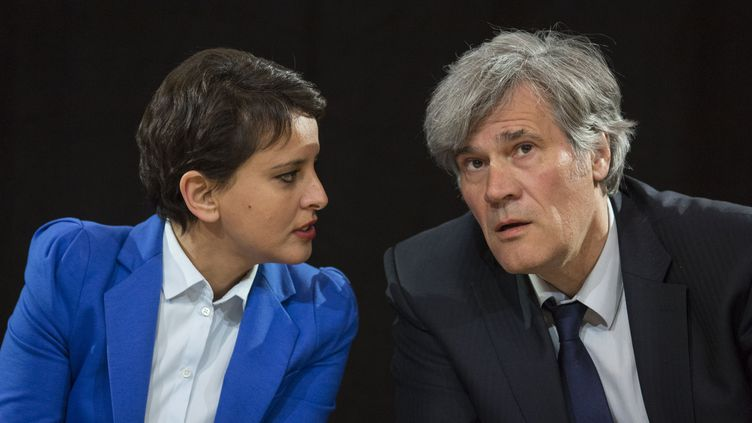 Najat Vallaud-Belkacem et Stéphane Le Foll en avril 2016. (GEOFFROY VAN DER HASSELT / AFP)