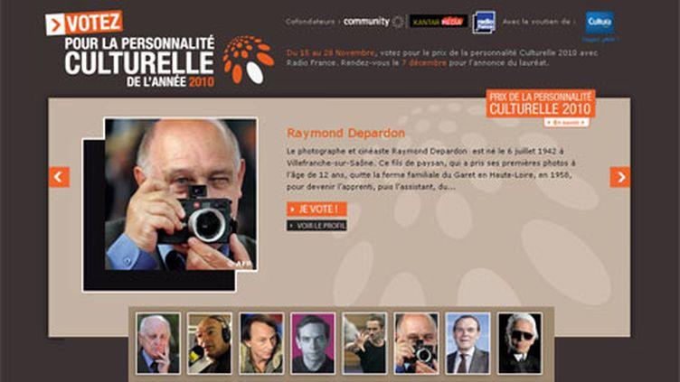 """La page de Radio France invitant les internautes à voter pour la """"personnalité culturelle de l'année 2010"""