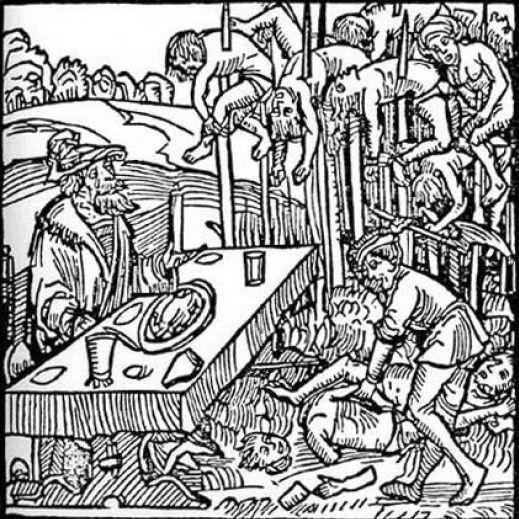 Bois, illustration d'un pamphlet allemand de XVe siècle montrant Vlad Tepes déjeunant au milieu des pals  (DR)