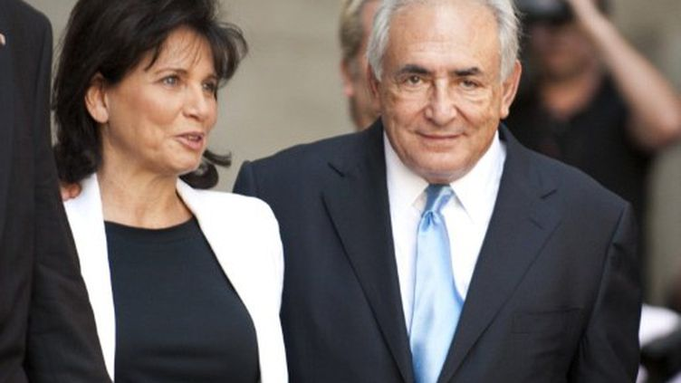 Anne Sinclair et Dominique Strauss-Kahn, le 1er juillet à New York. (AFP - Don Enmert)