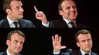 Emmanuel Macron en quatre photos, candidat à l'élection présidentielle, fondateur du mouvement En Marche !, à La Défense, vers Paris, le 31 janvier 2017. (CHRISTOPHE ARCHAMBAULT / AFP)