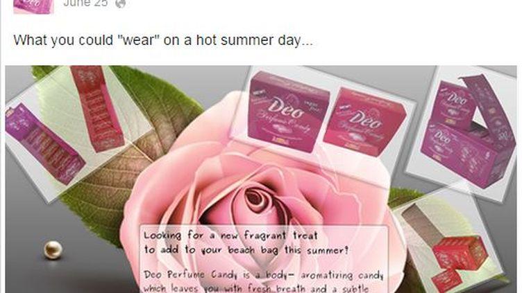 Capture d'écran Facebook d'un messagepromotionnel de Deo Perfume Candy posté le 25 juin 2014. (FACEBOOK / DEO PERFUME CANDY)