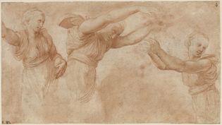 Trois femmes drapées vues à mi-corps : étude pour les Heures jetant des fleurs dans le Banquet des dieux aux noces d'Amour et de Psyché - Raffaello Sanzio, dit Raphaël (ou atelier de) - (Urbino, 1483 - Rome, 1520). (RMN - GRAND PALAIS - DOMAINE DE CHANTILLY - THIERRY OLLIVIER 2019)