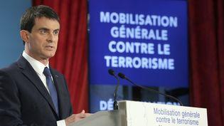 Le Premier ministre Manuel Valls durant sa conférence de presse où il a annoncé ses mesures pour lutter contre le terrorisme, à Paris le 21 janvier 2015. (PHILIPPE WOJAZER / POOL)