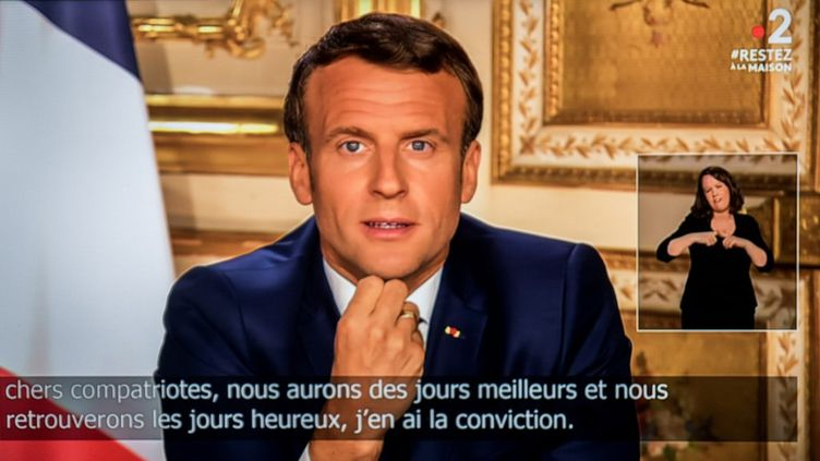 Le président de la République, Emmanuel Macron, le 13 avril 2020, lors de sa quatrième allocution sur la crise du coronavirus. (MAUD DUPUY / HANS LUCAS)
