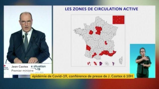 Jean Castex donne les 19 départements en rouge