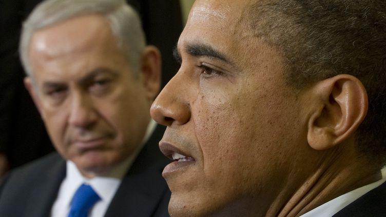 Le président américain, Barack Obama, et le Premier ministre israélien, Benyamin Netanyahu, le 5 mars 2012 àWashington (Etats-Unis). (SAUL LOEB / AFP)
