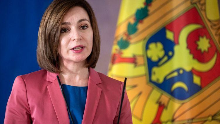 La présidente moldave, Maia Sandu, le 19 mai 2021 à Berlin (Allemagne). (BERND VON JUTRCZENKA / DPA)