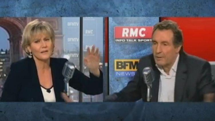 """""""Vous dites des bêtises, nous ne maîtrisez pas le sujet"""", a lancé Jean-Jacques Bourdin à Nadine Morano, le 5 janvier sur BFMTV-RMC (FTVI / BFMTV-RMC)"""