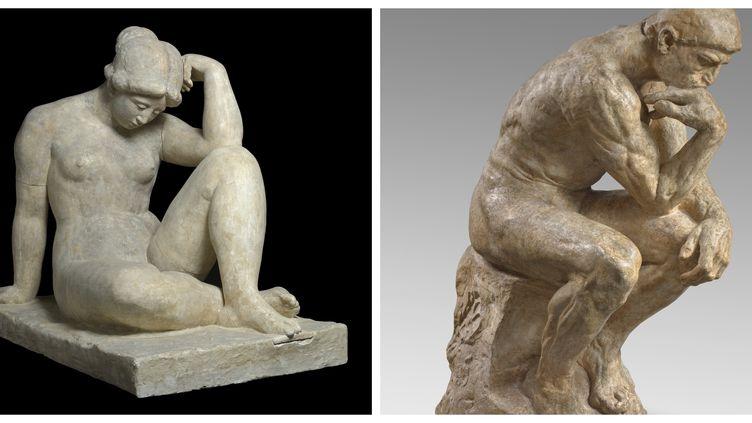 (à gauche) Aristide Maillol Méditerranée, deuxième état, 1905 Collection particulière ; courtesy galerie Dina Vierny, Paris / (à droite)Auguste Rodin Le Penseur monumentalMusée Rodin, Paris (Jean-Louis Losi (pour la statue de Maillol) / Musée Rodin – Hervé Lewandowski)