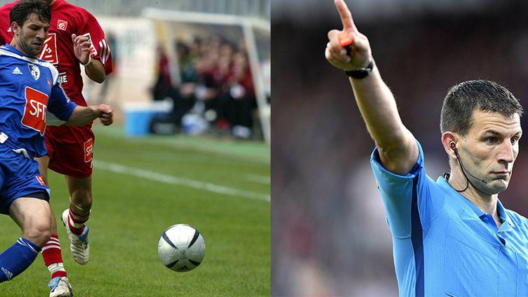 À gauche, Jérémy Stinatlors d'un match de Coupe de France avec Grenoble, le 19 avril 2005. Et à droite lors du match de Ligue 2, Brest-Paris FC, le 10 août 2018. (CRÉDITALAIN JULIEN / AFP ET Philippe Renault/MAXPPP)