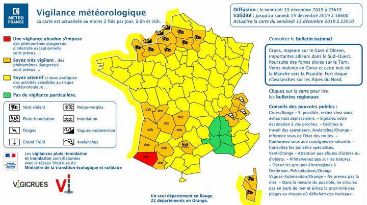 De nombreux départements sont en alerte, le 13 décembre 2019.  (METEO FRANCE)