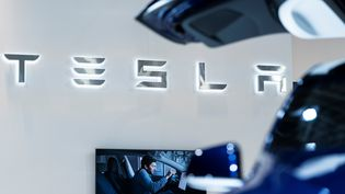 Le stand Tesla à un salon automobile à Bruxelles (Belgique). Photo d'illustration. (KENZO TRIBOUILLARD / AFP)