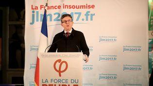 Jean-Luc Mélenchon,dans son discours au soir dupremier tour qui a vu son élimination, le 23 avril 2017. (GETTY IMAGES)