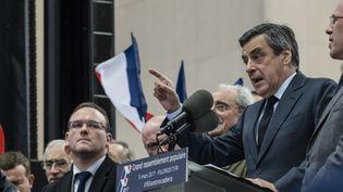 """A plusieurs reprises, François Fillon a estimé que """"200 000 personnes"""" avaient participé au rassemblement place du Trocédéro, mercredi 5 mars. (CITIZENSIDE/SAMUEL BOIVIN / CITIZENSIDE)"""