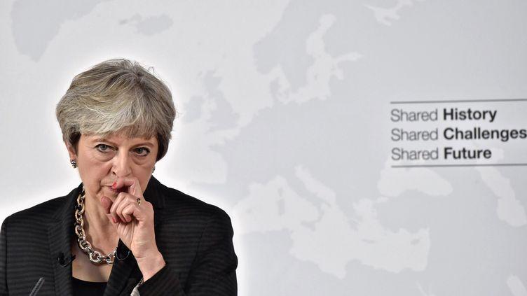Theresa May lors d'un discours à Florence (Italie), le vendredi 22 septembre 2017. (MAURIZIO DEGL'INNOCENTI / AFP)