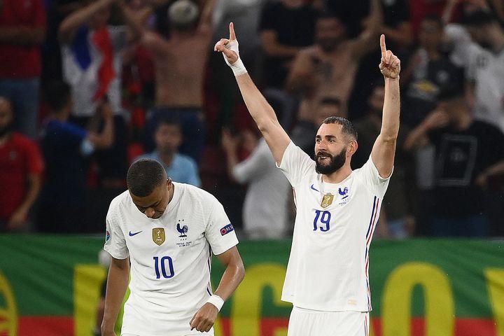 Karim Benzema a marqué les deux buts de l'équipe de France face au Portugal, le 23 juin à Budapest (FRANCK FIFE / POOL)