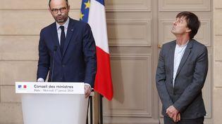 Edouard Philippe et Nicolas Hulot, après le conseil des ministres, le 17 janvier 2017, au palais de l'Elysée, à Paris. (CHARLES PLATIAU / POOL)