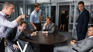 "Hamish Linklater, Rafe Spall et Ryan Gosling dans ""The Big Short""  (2015 Paramount Pictures.)"