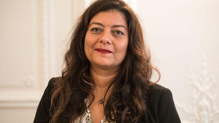 Sandra Muller lors d'une conférence de presse après sa condamnation pour diffamation, le 25 septembre 2019 à Paris. (MAXPPP)