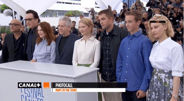 """Le photocall de l'équipe du film """"Maps to the Stars"""".  (Youtube - TV Festival de Cannes)"""